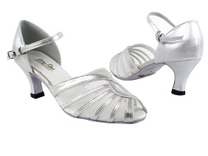 "2719 259 Silver Satin_White Mesh with 2.5"" Heel in the photo"