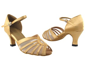 "2719 80 Light Gold Satin with 2.5"" Heel in the photo"
