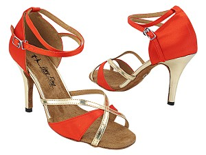 "2829LEDSS 74 Red Satin_Gold Trim with 3"" Stiletto Heel (428) in the photo"