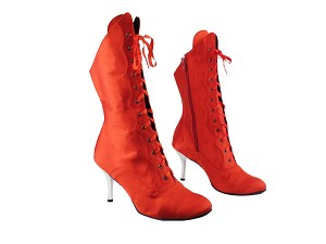 "3301Boot 112 Red Satin with 3"" Slim Silver Plated Heel in the photo"