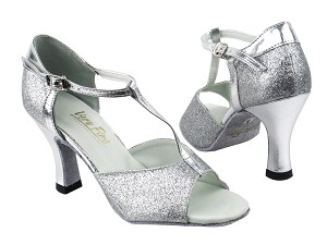 "5004 126 Silver Stardust_Silver Leather Trim_H_2707 Back with 3"" heel in the photo"