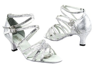 "5008 126 Silver Stardust with 2.5"" Heel in the photo"