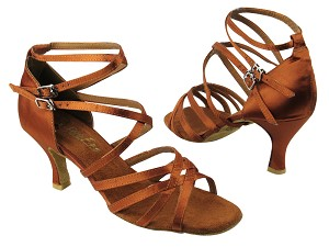 "5008 236 Dark Tan Satin with 3"" heel in the photo"