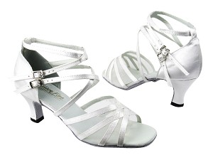 "5008 White Satin_White Mesh with 2.5"" low heel in the photo"