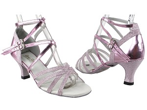 "5008Mirage 272 Light Pink Glitter_150 Purple PU with 2.5"" Heel in the photo"
