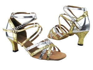 "5008Mirage Gold Sparkle_H_Silver Sparkle_Gold_Silver Leather with 2.5"" low heel in the photo"