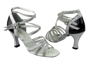 "5008Mirage Silver Stardust_Black Patent_Back only with 3"" heel in the photo"