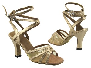 "5009 57 Light Gold Leather_Flesh Mesh with 3"" heel in the photo"