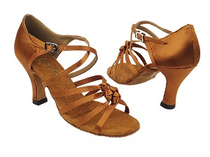 "5011 236 Dark Tan Satin with 3"" Heel in the photo"
