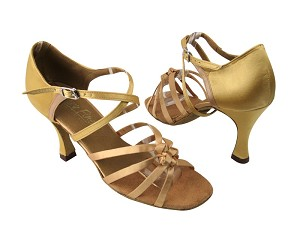 "5011 80 Light Gold Satin with 3.5"" Flare heel in the photo"