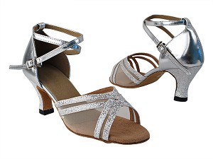 "5017 107 Silver Scale_F_H_55 Silver PU_B_54 Flesh Mesh with 2.5"" low heel in the photo"