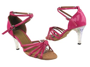 "6005 260 Pink Patent with 3"" Square Transparent Heel in the photo"