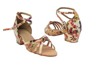 "6005 287 Flower PU with 1.5"" medium heel in the photo"