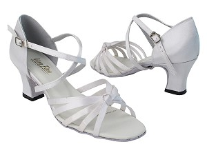 6005 34 White Satin_X-Strap Arch with 2.2 inch Thick Cuban Heel (Heel Code 318) in the photo