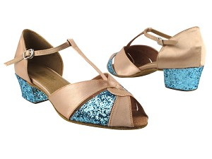 "6006 135 Light Brown Satin_X_B_188 Light Blue Sparkle_H with 1.5"" Medium Heel in the photo"