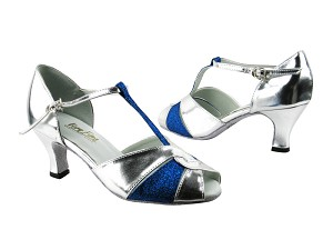 "6006 55 Silver Leather_234 Blue Stardust with 2.5"" low heel in the photo"