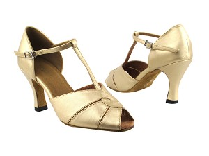 "6006 57 Light Gold Leather with 3"" Heel in the photo"