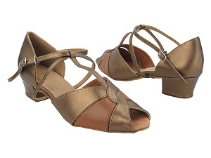 "6006 59 Copper PU_X_133 Coffee Brown Leather_X-Strap Arch with 1.5"" Heel in the photo"