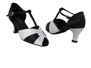 "6006 6 Silver Sparklenet_X_H_38 Black Satin with 2.5"" Heel in the photo"