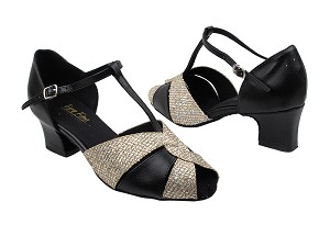 "6006 74 Gold Sparklenet_X_Black Leather with 2"" Thick Cuban  Heel in the photo"