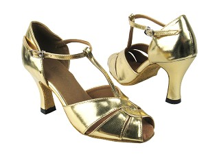 "6006 Gold Leather with 3"" heel in the photo"