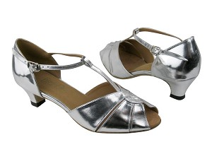 "6006 Silver Leather with 1.3"" Cuban heel in the photo"