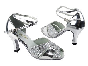 "6006 Silver Sparklenet_Silver Leather_Without T Strap_2701 BackStrap with 3"" heel in the photo"