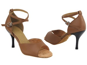 "6012 133 Coffee Brown PU with 3"" Slim Black Plated Heel in the photo"