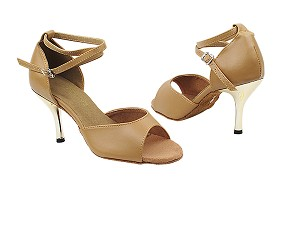 "6012 157 Beige Brown Leather with 3"" Slim Gold Plated Heel in the photo"