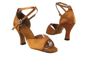 "6012 236 Dark Tan Satin with 3"" Heel in the photo"