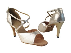 "6012 300 Beige Velvet_57 Light Gold PU_H_6023 BackStrap with 3.5"" Stiletto Heel in the photo"