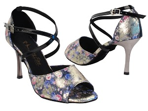 "6012LEDSS Blue Granite_1601 BackStrap with 3"" Slim Metallic Heel in the photo"