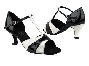 "6016 183 Stardust_H_T_Black Patent with 2.5"" low heel in the photo"