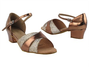 "6016 74 Gold Sparklenet_171 Dark Tan Gold PU without T Strap 1.5"" Medium Heel in the photo"