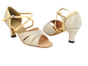 "6016 74 Gold Sparklenet_80 Gold Satin Trim_2721 Back Strap_Without T Strap with 2.5"" Heel in the photo"