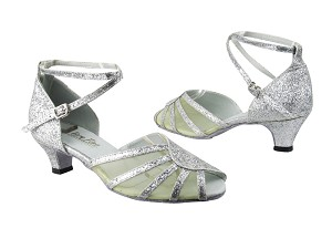 "6018 126 Silver Stardust_Flesh Mesh with 1.3"" Cuban heel in the photo"