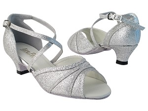 "6023 126 Silver Stardust_6 Silver Sparklenet_T_H with 1.3"" Cuban Heel in the photo"
