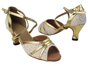 "6023 142 Brown_62 Gold PU Trim with 2.5"" Heel (2899) in the photo"