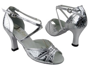 "6023 205 Ultra Silver_Silver Leather Trim with 3"" heel in the photo"