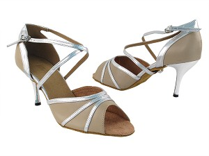 "6023 60 Tan PU_55 Silver PU Trim with 3"" Slim Silver Plated Heel in the photo"