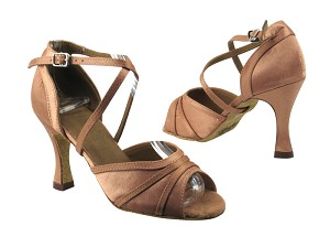 "6023 81 Brown Satin with 3.5"" heel in the photo"