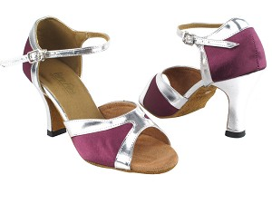 "6024 111 Purple Satin_Silver Leather Trim with 3"" Heel in the photo"