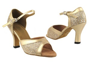"6024 74 Gold Sparklenet_57 Light Gold Leather Trim with 3"" Heel in the photo"