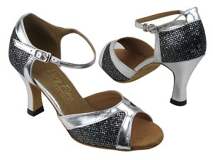 "6024 Black Sparklenet_Silver Trim with 3"" heel in the photo"