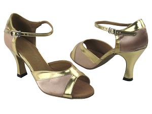 "6024 Flesh Satin & Gold Leather Trim with 3"" Heel in the photo"