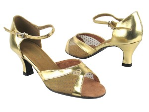 "6024 Gold Leather_108 Mesh with 2.5"" Heel in the photo"