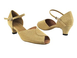 "6028 106 Glitter Gold Satin with 1.3"" Heel in the photo"