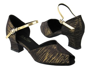 "6028 124 Black_Gold Stripe_Gold Leather Strap with 2"" Thick Cuban heel in the photo"