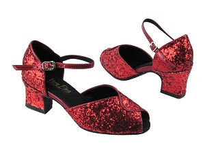 "6028 Red Sparkle_Red Patent Trim with 2"" Thick Cuban heel in the photo"