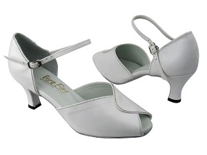 "6028 White Leather_White Patent Trim with 2.5"" Low heel in the photo"